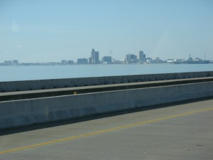 We get a glimpse of Corpus Christi from the freeway.