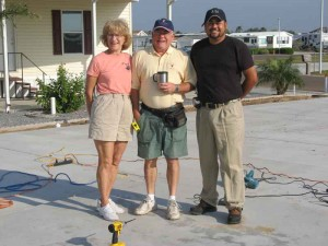 Owners Betty and Jay Crane pose with their framing sub-contractor.