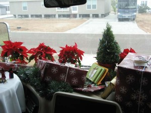 On the dashboard, I placed wrapped gifts in front of a small rosemary tree and six small poinsettia plants