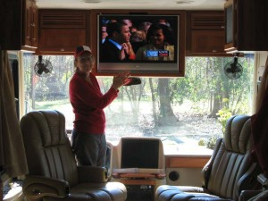 I cheer as Pres. Obama is sworn in while we watch CNN and MSNBC.