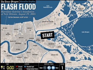 This is the first in a sequence of maps done by the Times-Picayune of Hurricane Katrina's flooding of New orleans. You can read the event hour-by-hour and see the water encroaching over the city. It is fascinating. I really recommend it.