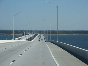 The bridge over Escambia Bay provides a beautiful view of the water ways.