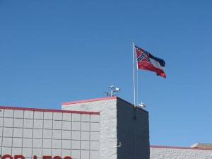 Is that a Confederate flag flying over Wal*mart in Tupelo? No, it's the Mississippi state flag.