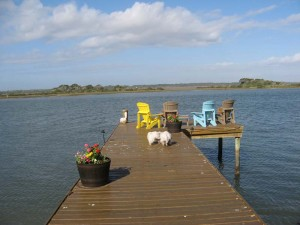 We go out on the dock to enjoy the view of the Intercoastal.