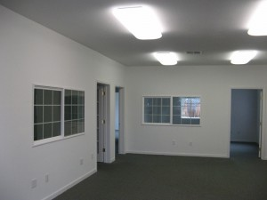 The staff offices are finished and very pleasant with interior and exterior windows to give an open feeling with plenty of light