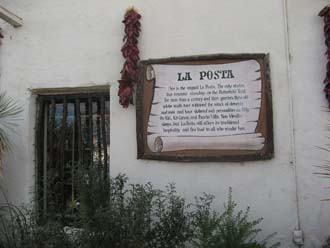 Sign at La Posta Restaurant.