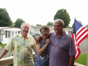 Dennis with Dee and Dan Downs after a delicious dinner at their home in Lindstrom, MN.